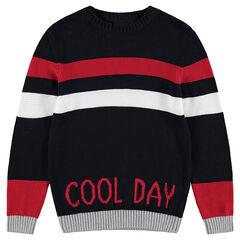 Παιδικά - Πλεκτό πουλόβερ με ζακάρ φράση και λωρίδες