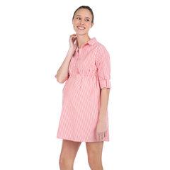 Μακρυμάνικο φόρεμα εγκυμοσύνης με κάθετες ρίγες