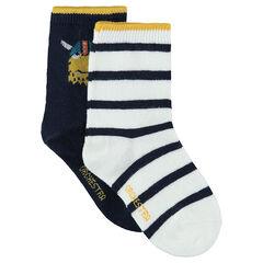 Σετ 2 ζευγάρια ασορτί κάλτσες, ένα ριγέ/ένα με μοτίβο