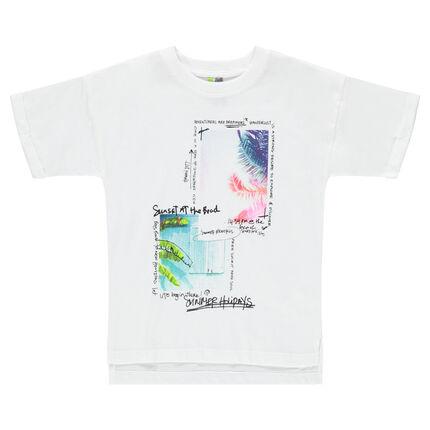 Κοντομάνικη μπλούζα ζέρσεϊ με τυπωμένα τροπικά τοπία