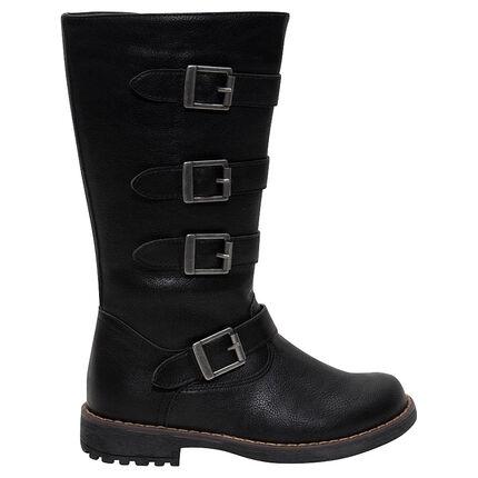 Μπότες ιππασίας από δερματίνη με μεγάλες μεταλλικές αγκράφες ... d54da854674