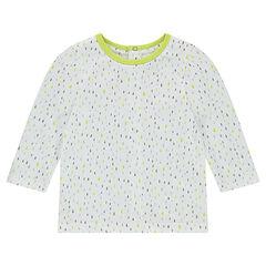 Μακρυμάνικη μπλούζα από ζέρσεϊ με εμπριμέ γεωμετρικό μοτίβο