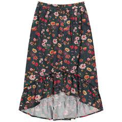 Μακριά ασύμμετρη φούστα με λουλούδια σε όλη την επιφάνεια
