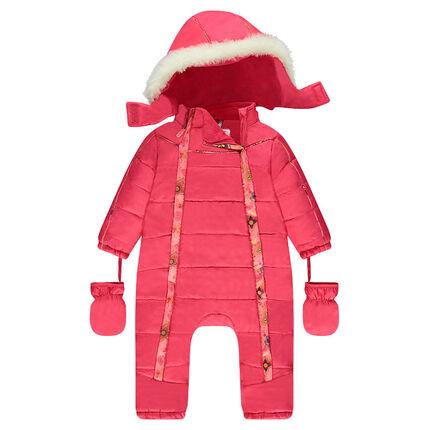 Ολόσωμη φόρμα του σκι με φλις επένδυση και αφαιρούμενη κουκούλα
