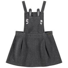 Φόρεμα ολόσωμη φόρμα με ασημί νήμα για μελανζέ όψη και τσέπη με σχέδιο λαγουδάκι