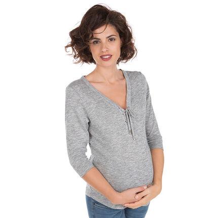 Μακρυμάνικη μπλούζα με δέσιμο στη λαιμόκοψη