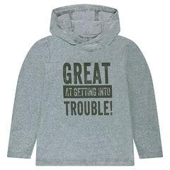 Παιδικά - Μακρυμάνικη μπλούζα με κουκούλα και τυπωμένη φράση