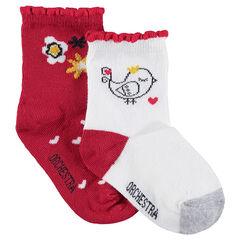 Σετ 2 ζευγάρια ασορτί κάλτσες με ζακάρ λουλούδια και πουλάκι