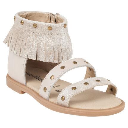 Nu-pieds en cuir beige à paillettes et col à franges