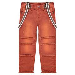 Παντελόνι με νηματοβαφή και αφαιρούμενες τιράντες