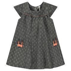Κοντομάνικο φόρεμα από ύφασμα σαμπρέ με κουνελάκια σε όλη την επιφάνεια