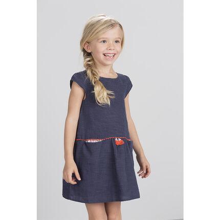 Βαμβακερό φόρεμα με όψη ντένιμ
