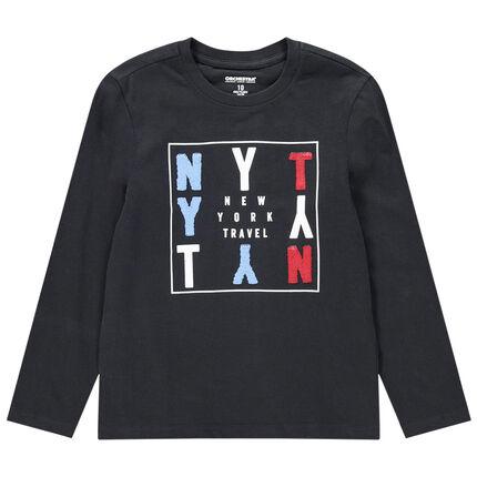 Παιδικά - Μακρυμάνικη ζέρσεϊ μπλούζα με γράμματα από «μαγικές» πούλιες