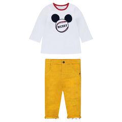 Σύνολο με μακρυμάνικη μπλούζα διπλής όψης Mickey και βελούδινο παντελόνι