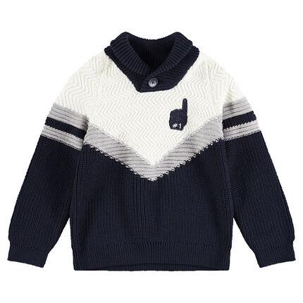 Πλεκτό πουλόβερ με ζακάρ λωρίδες και σήμα αρκουδάκι