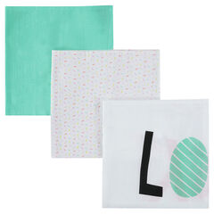 Σετ 3 τετράγωνες πάνες αγκαλιάς με πολύχρωμο μοτίβο