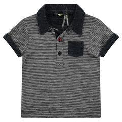 Κοντομάνικη μπλούζα πόλο σε πλεκτή ύφανση με εξωτερική τσέπη