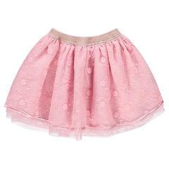 Επίσημη φούστα με βολάν από τούλι και μεταλλιζέ λάστιχο στη μέση