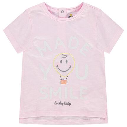 Κοντομάνικη μπλούζα από βιολογικό βαμβάκι με τυπωμένο μήνυμα και κέντημα Smiley