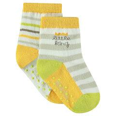 Σετ με 2 ζευγάρια κάλτσες με ζακάρ ρίγες