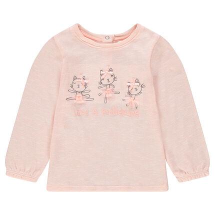 Λεπτή πλεκτή μακρυμάνικη μπλούζα με τυπωμένες γατούλες και φιόγκους