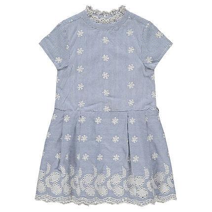 Κοντομάνικο φόρεμα με κάθετες ρίγες και κεντημένα μοτίβα