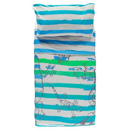 Housse de couette et taie d'oreiller rayées avec print lézards 140x200 cm