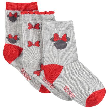 Σετ 3 ζευγάρια ασορτί κάλτσες με ζακάρ μοτίβο Μίνι της Disney