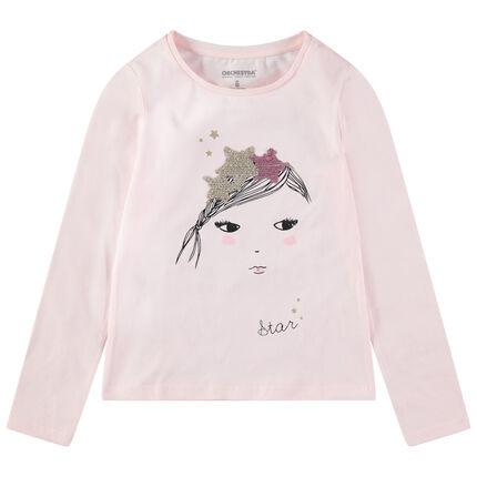 Μακρυμάνικη ζέρσεϊ μπλούζα με πριγκίπισσα και κορώνα από «μαγικές» πούλιες