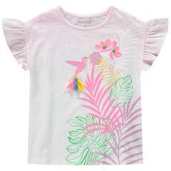 Κοντομάνικη ζέρσεϊ μπλούζα με εφέ tie & dye, τύπωμα πουλάκι και φουντίτσες