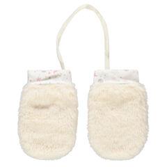 Γάντια από sherpa με ενιαία παλάμη και εμπριμέ ζέρσεϊ μανσέτες