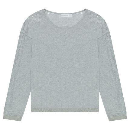 Παιδικά - Λεπτό πουλόβερ σε γκρι μελανζέ με αραιή αζούρ πλέξη