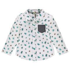 Μακρυμάνικο πουκάμισο από γάζα με εμπριμέ μοτίβο junk food