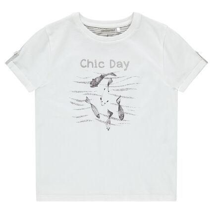 Κοντομάνικη ζέρσεϊ μπλούζα με τυπωμένα ψαράκια