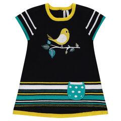 Πλεκτό κοντομάνικο φόρεμα με ζακάρ πουλάκι