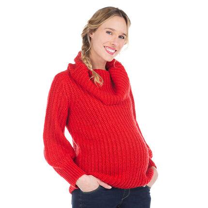 Πουλόβερ εγκυμοσύνης με γυριστό λαιμό σε πλεκτή πλέξη