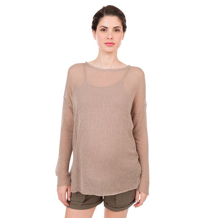 Μπλούζα εγκυμοσύνης 2 σε 1 με φαντεζί αραχνοΰφαντη πλέξη