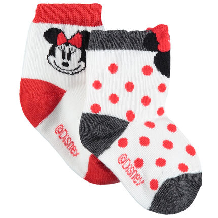 Σετ 2 ζευγάρια ασορτί κάλτσες με πουά και ζακάρ μοτίβο τη Μίνι της Disney