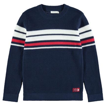 Πλεκτό πουλόβερ με ζακάρ ρίγες σε αντίθεση
