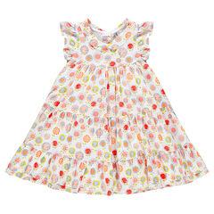 Εμπριμέ φλοράλ φόρεμα με βολάν