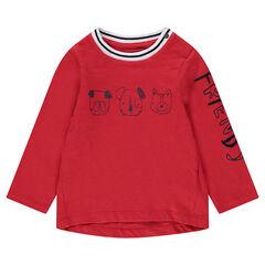 Μακρυμάνικη μπλούζα ζέρσεϊ με τυπωμένα ζωάκια