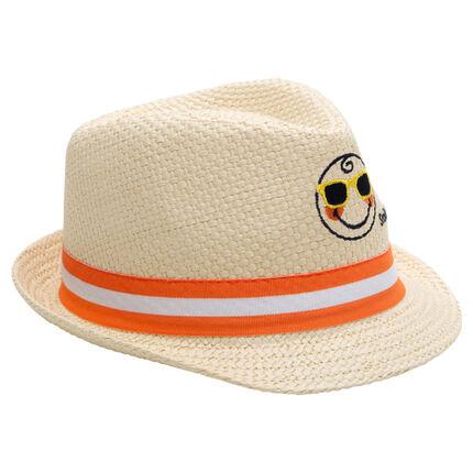 Καπέλο τύπου borsalino με όψη ψάθας και κεντημένο ©Smiley μπροστά