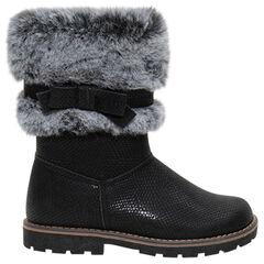 Μπότες λουστρίνι με ανάγλυφη υφή, συνθετική γούνα και φιόγκο