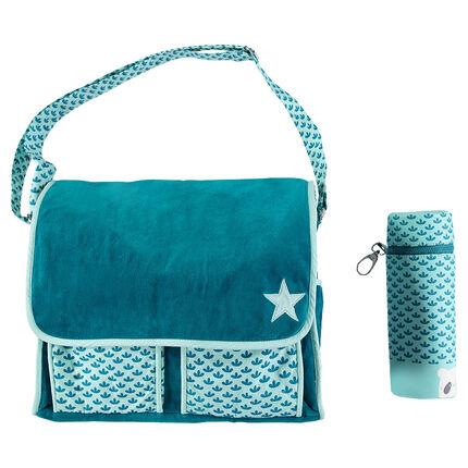 Τσάντα αλλαξιέρα από απαλό βελούδο με εμπριμέ τσέπες