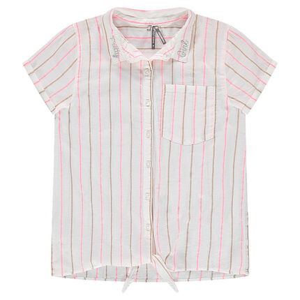 Παιδικά - Κοντομάνικο πουκάμισο ριγέ που δένει μπροστά
