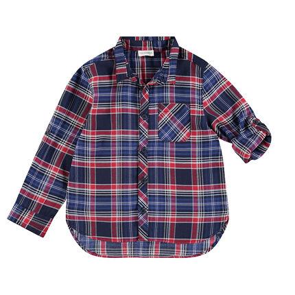 Παιδικά - Μακρυμάνικο καρό πουκάμισο σε ύφανση με διακοσμητικό σχέδιο