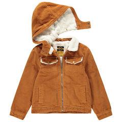 Παιδικά - Μπουφάν από βελούδο κοτλέ με επένδυση sherpa και αφαιρούμενη κουκούλα