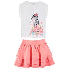Σύνολο αμάνικη μπλούζα με στάμπα καμηλοπάρδαλη και ροζ φούστα με βολάν