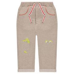 Παντελόνι φόρμας από φανέλα μελανζέ με μπαλώματα και στάμπες στα γόνατα