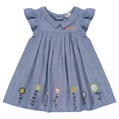 Φόρεμα από σαμπρέ ύφασμα με βολάν και κεντήματα
